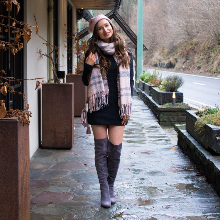 over the knee boots and sweater dress outfit