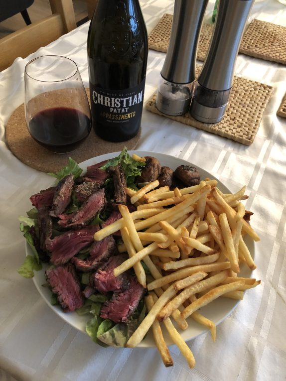 Hanger Steak, Fries, Mushrooms & Salad