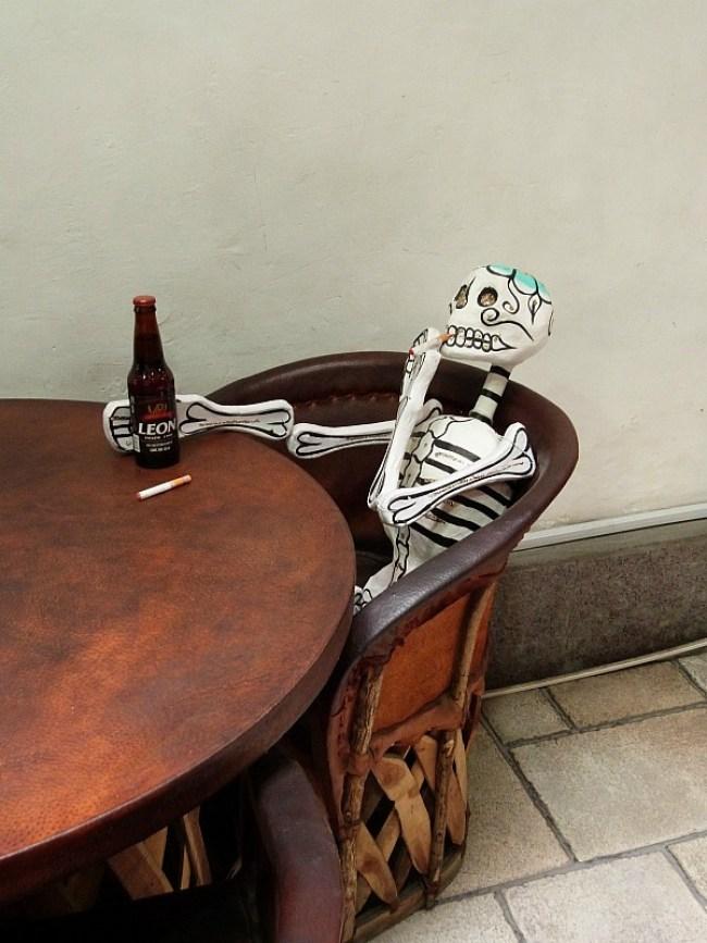Skeleton decoration for Dia de los Muertos celebrations in Mexico City