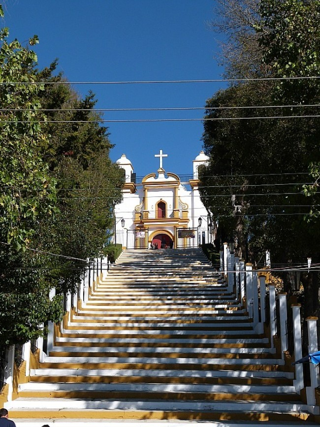 Colorful church and stairs in San Cristobal de las Casas, Chiapas, Mexico