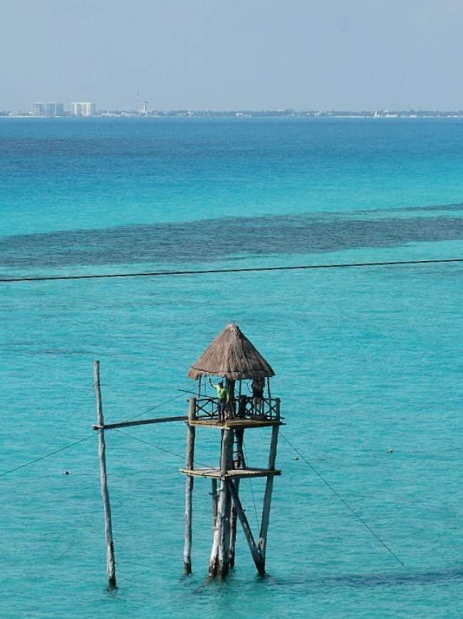 Zipline over the water in Isla Mujeres, Yucatan Peninsula, Mexico