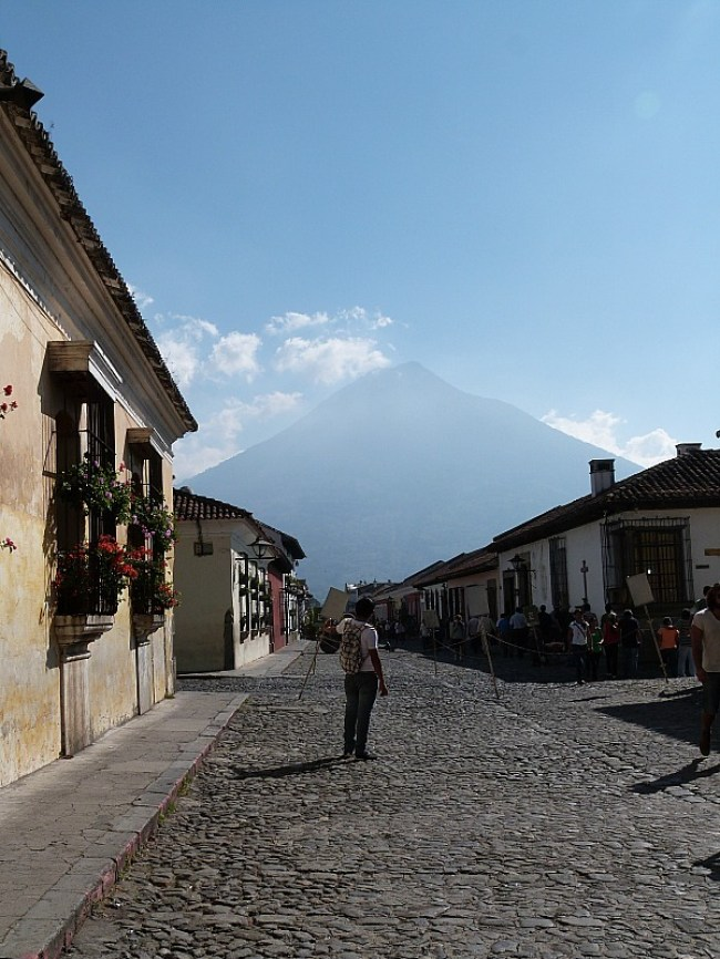 Volcano views in Antigua, Guatemala