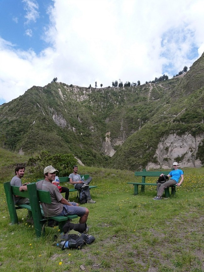 Taking a hiking break on the Quilotoa Loop in Ecuador