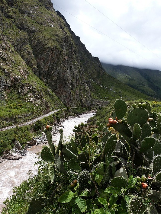 Hiking along the river on the first day of the world famous Inca Trail in Peru