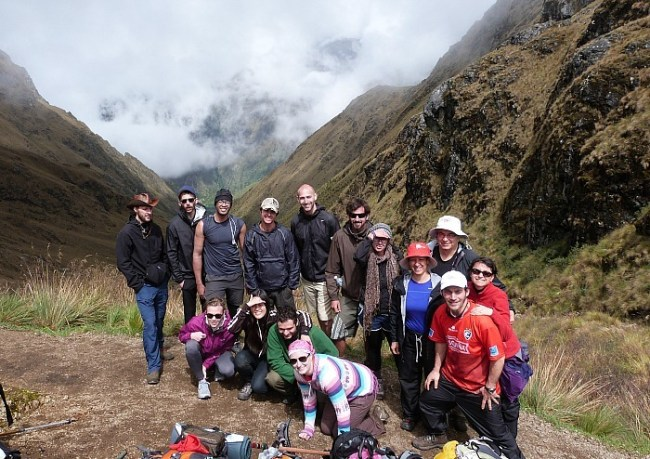 At the top of Dead Women's Pass on day two of the Inca Trail in Peru
