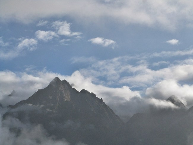 Stunning mountain views from the Sun Gate on Day 4 of the Inca Trail in Peru
