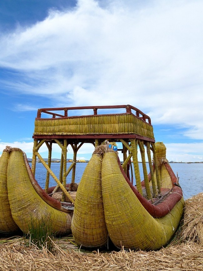 Traditional boat at the Floating Uros Islands of Lake Titicaca, Peru