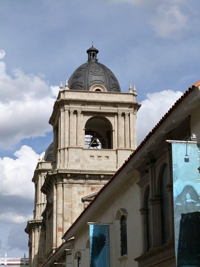Belltower in Plaza Murillo in La Paz, Bolivia