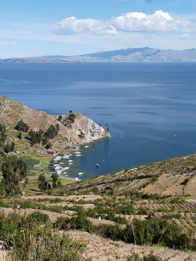 Viewpoint on Isla del Sol in Lake Titicaca, Bolivia