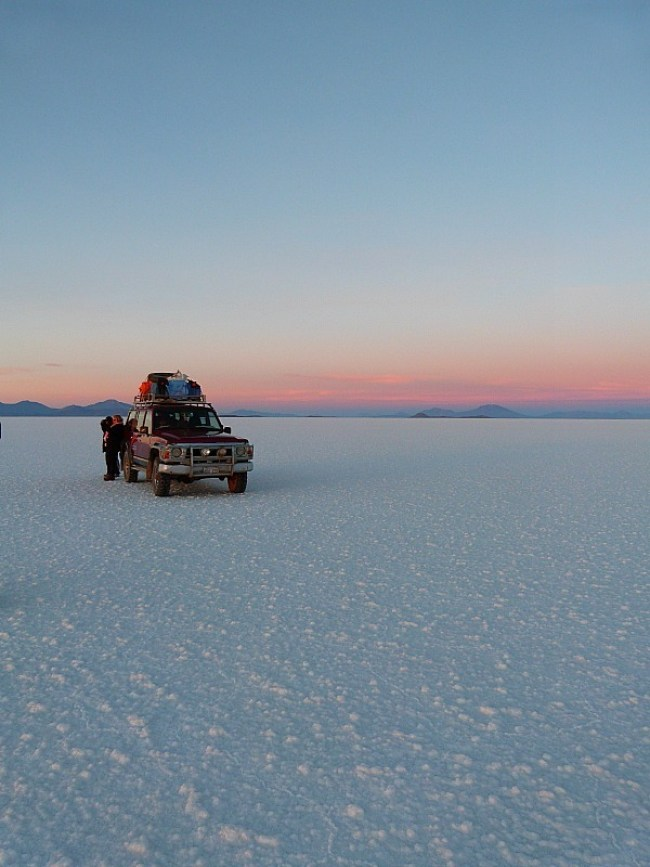 Waiting for sunrise at the salt flats of South West Bolivia