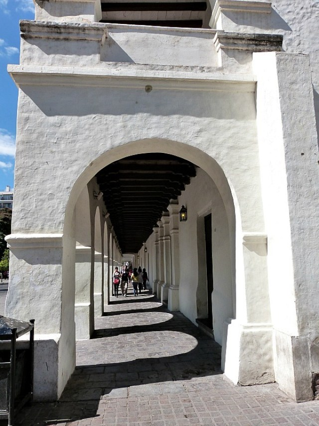Whitewashed covered walkway in Salta, Northern Argentina