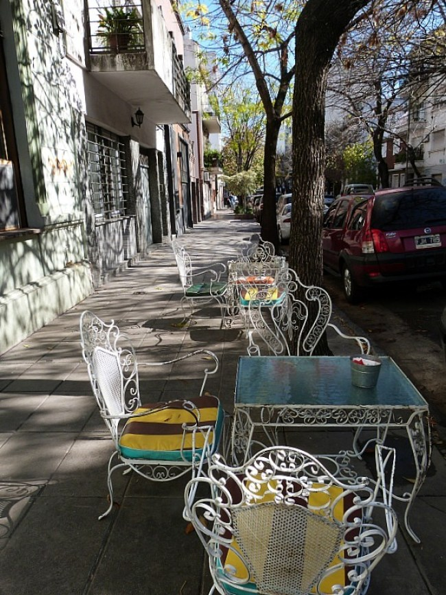 Outdoor cafe seating in Palermo, Buenos Aires, Argentina