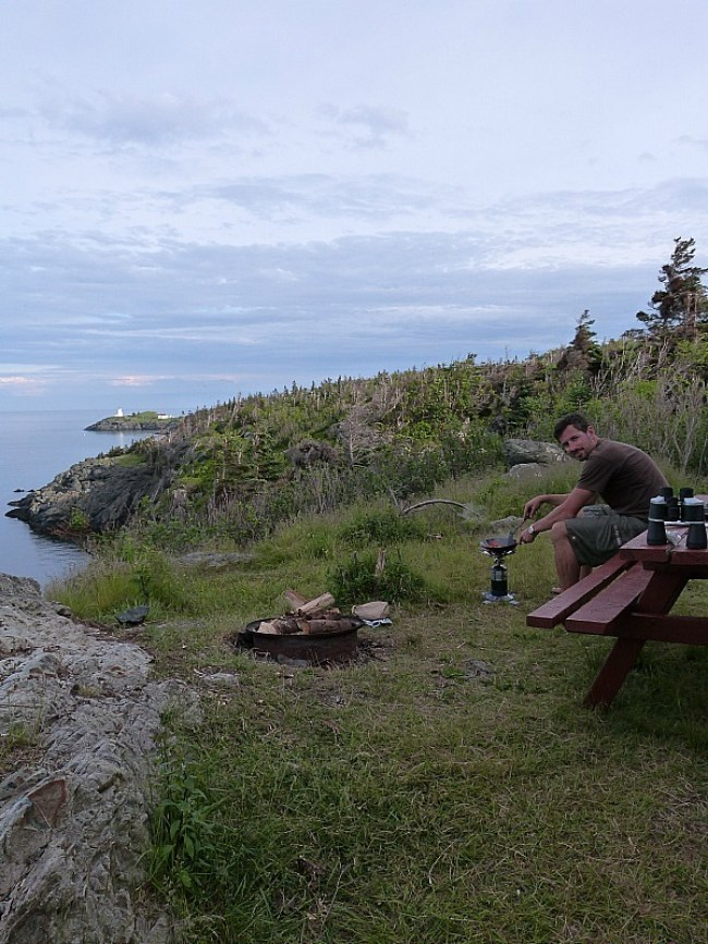 Cooking at our campsite on Grand Manan Island