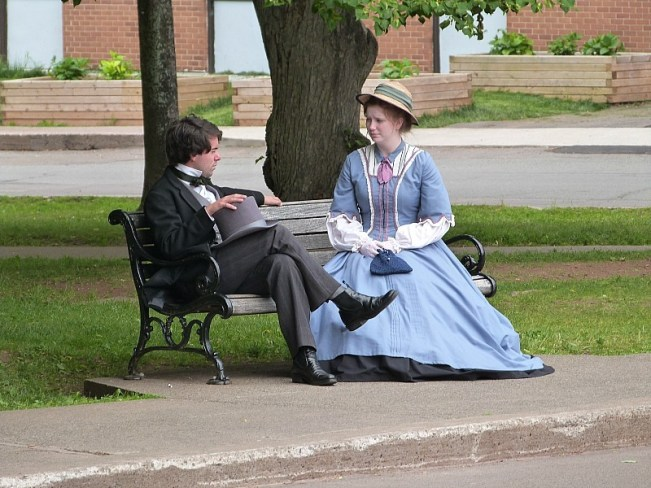 Costumed actors outside Province House in Charlottetown, PEI