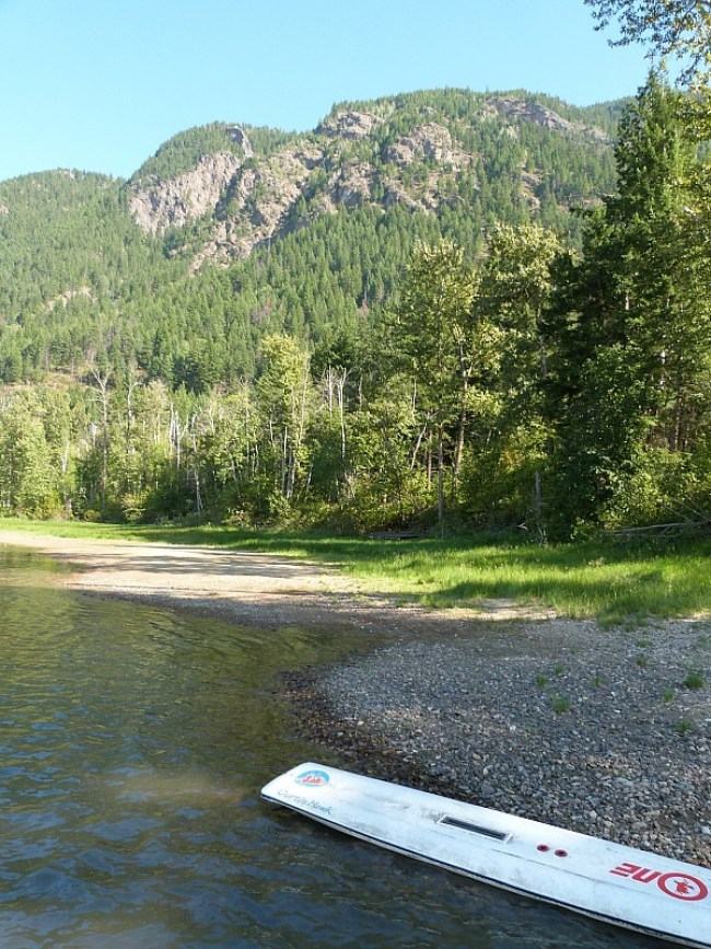 Beach by Squilax Hostel at Shuswap Lake in British Columbia, Canada
