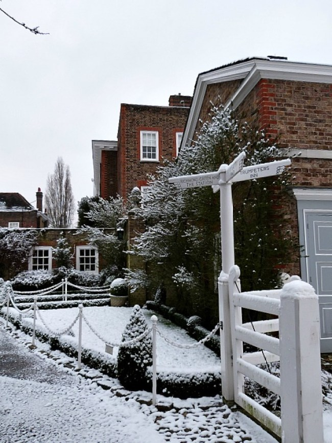 Richmond Palace in Richmond, London in the snow