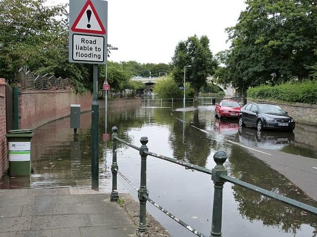 Flooding roads in Richmond, London