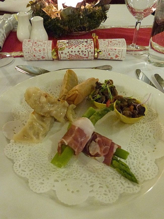 Entrees at the Carrington Hotel, during Yulefest in the Blue Mountains