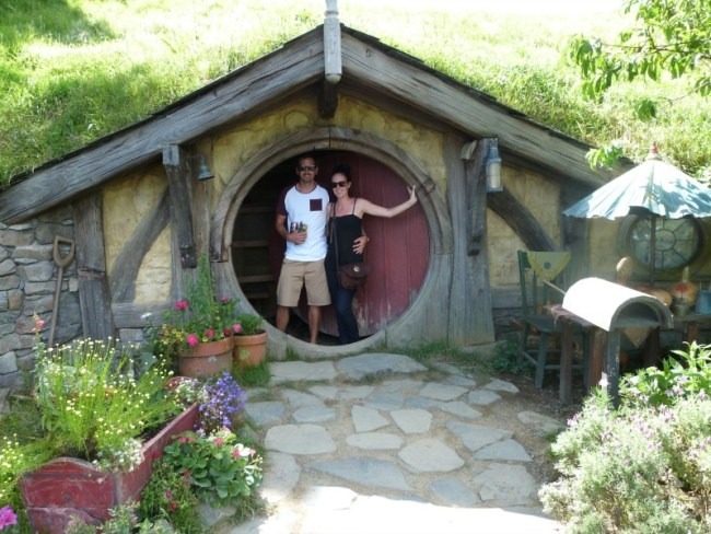 Hanging out in a hobbit hole at the Hobbiton Movie Set in New Zealand