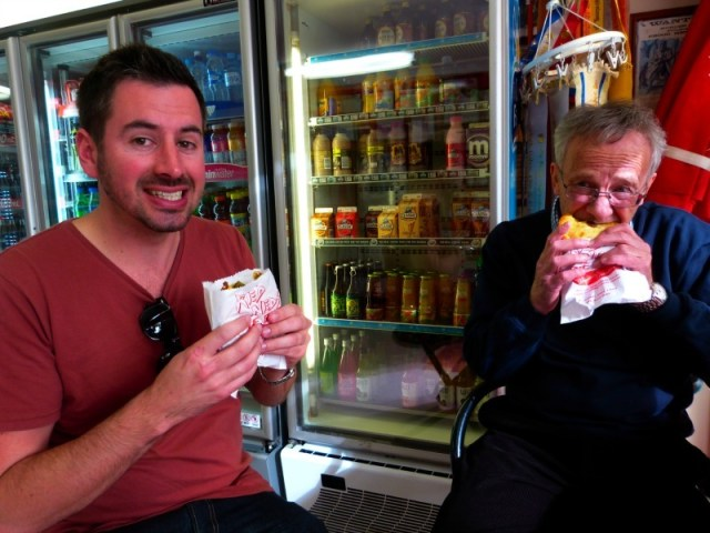 Trying the famous pies at Red Ned's in Nelson Bay
