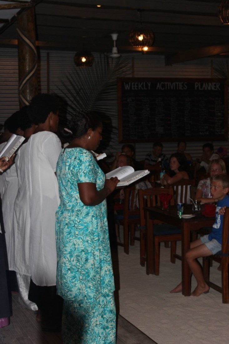 Choir singers at Blue Lagoon Resort on Nacula Island in the Yasawa Islands of Fiji