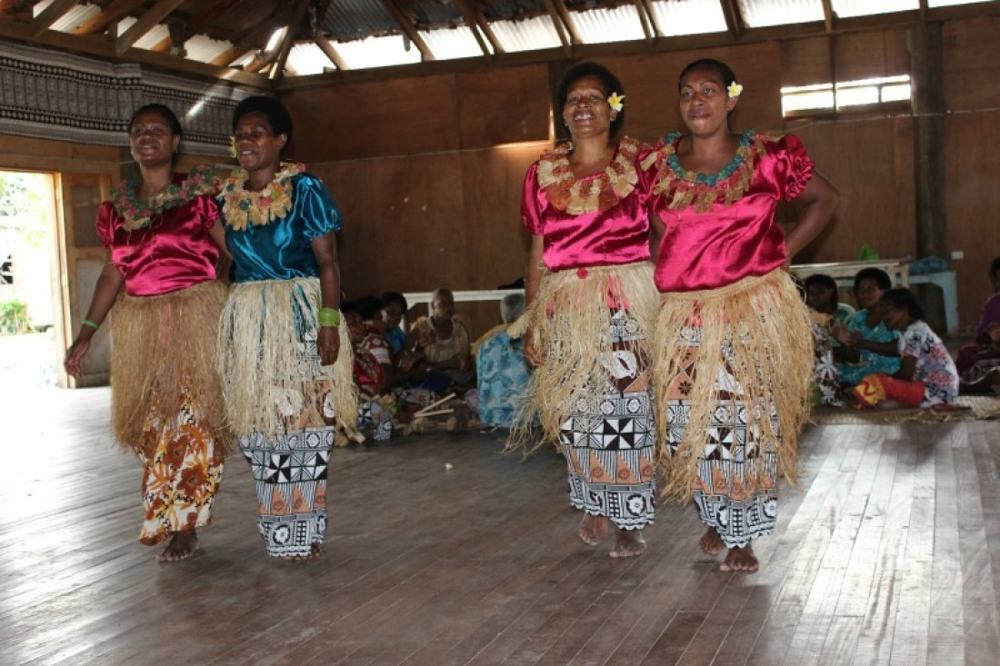 Welcome dance on a traditional Fijian village visit in the Yasawa Islands