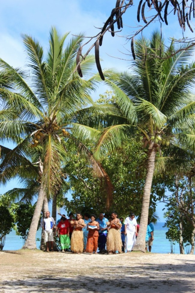 Traditional ceremony for Fiji Day on Barefoot Island