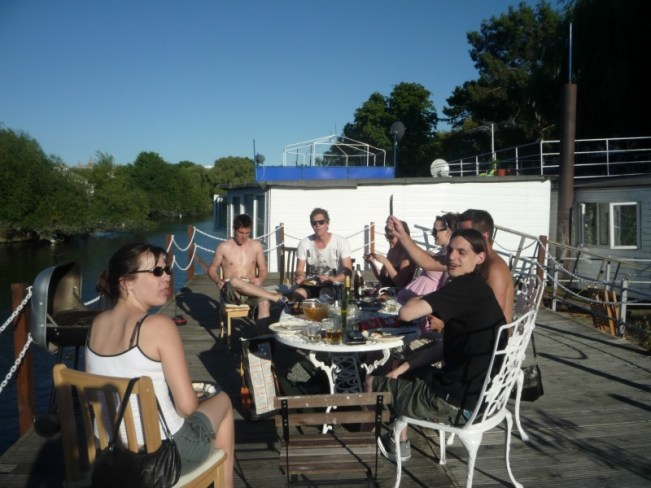 BBQ in summer on our London Houseboat roof terrace