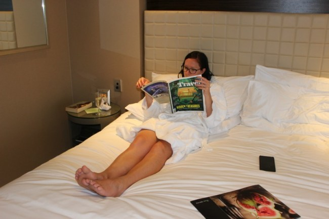 Relaxing at the Four Seasons Sydney during our staycation