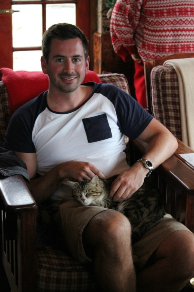 Relaxing at Sani Mountain Lodge in Sani Top. Lesotho with a cute kitty