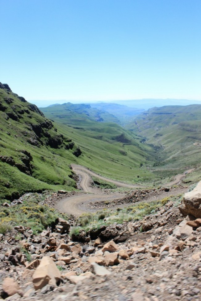 Driving down the Sani Pass from Lesotho to South Africa
