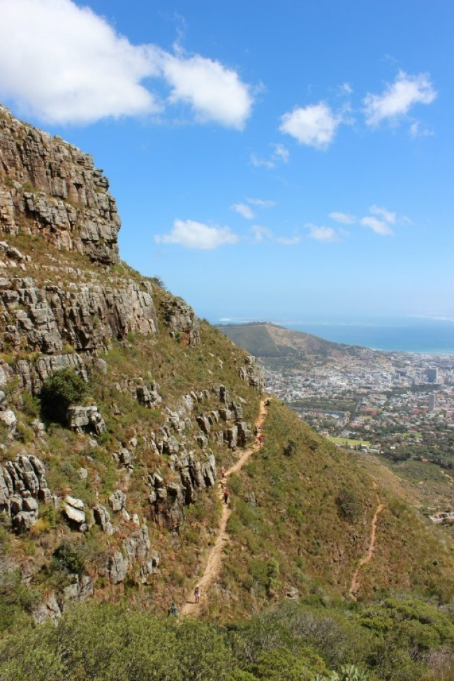 Hiking the Platteklip Gorge trail up Table Mountain in Cape Town