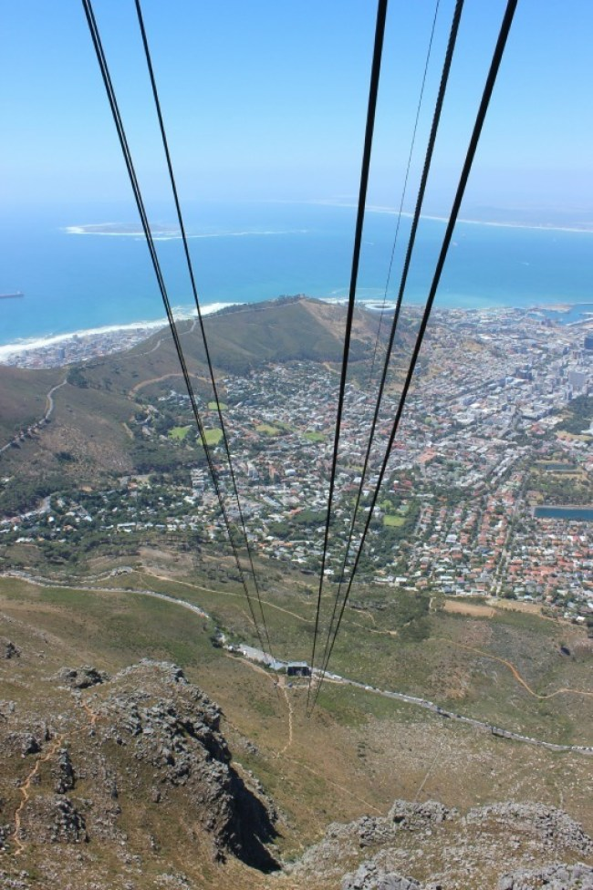 Getting the cable car from top of Table Mountain in Cape Town