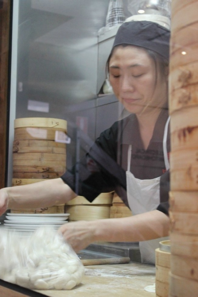 Dumplings being made at HuTong Dumpling Bar in Melbourne's China Town