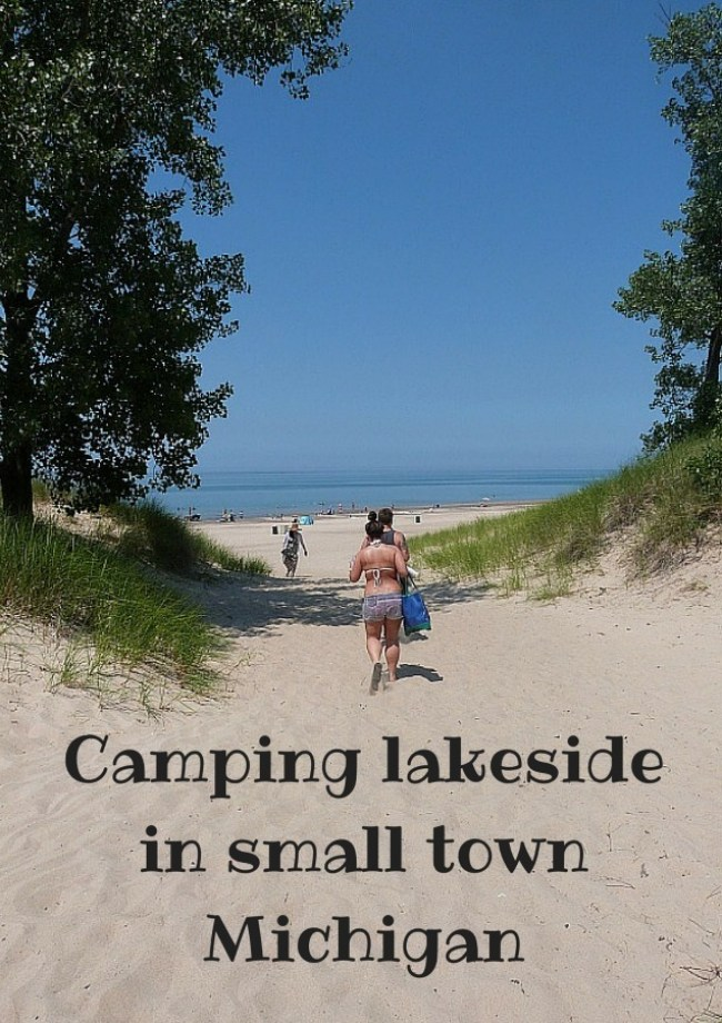 Camping lakeside in small town Michigan