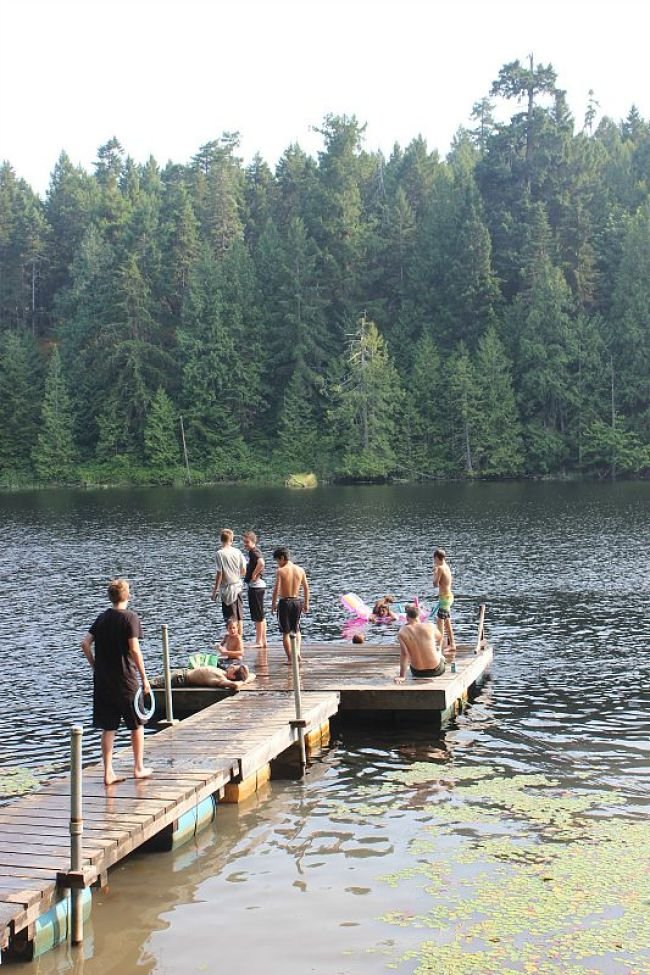 Swimming in Graham Lake on Denman Island on a hot day during month one of digital nomad life