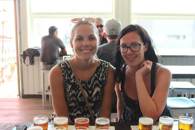 Beer sampling at 33 Acres Brewing during summer in Vancouver