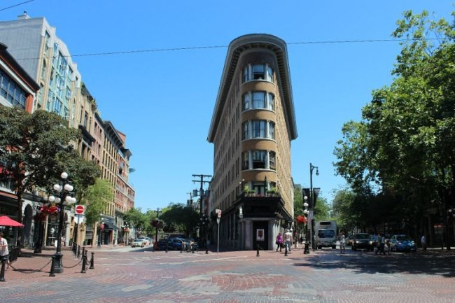 Gastown's Flatiron building during summer in Vancouver