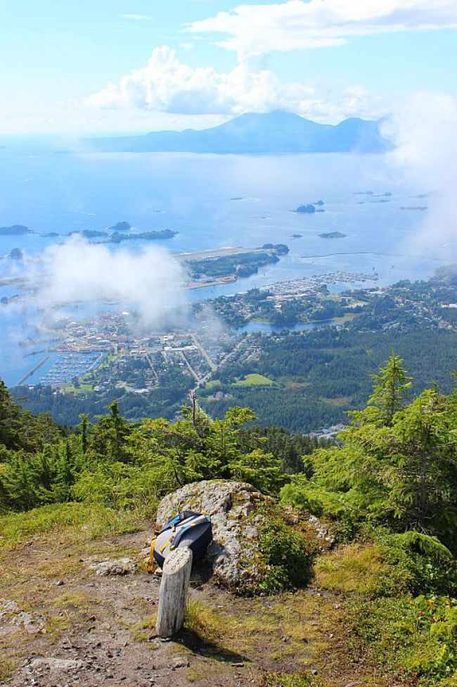 Hiking to the Mount Verstovia summit near Sitka, Alaska during month two of digital nomad life