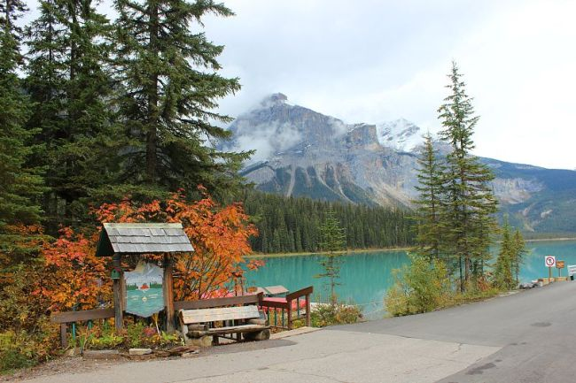 Enjoying Autumn at Emerald Lake during month three of digital nomad life