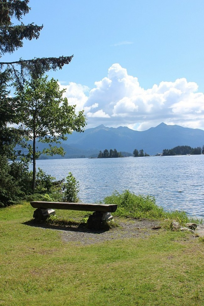 A bench with a view in Sitka Alaska