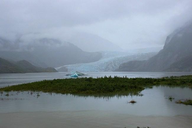 Mendenhall Glacier Alaska in the rain