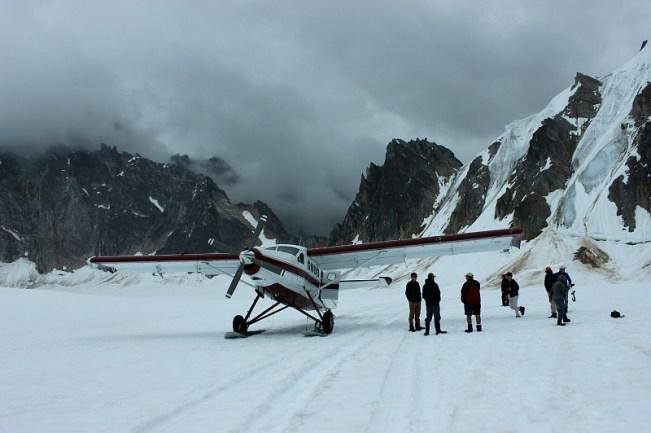 Our plane on the Pika Glacier on a Denali Flightseeing Tour