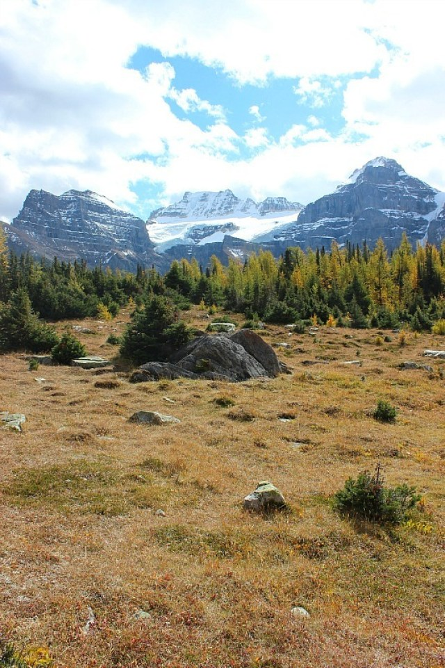 Beautiful scenery in the Larch Valley - on one of the best fall hikes in Banff National Park