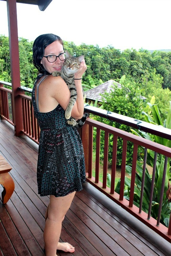 Me and Isis the kitty at our guesthouse on Kauai, the Garden Island