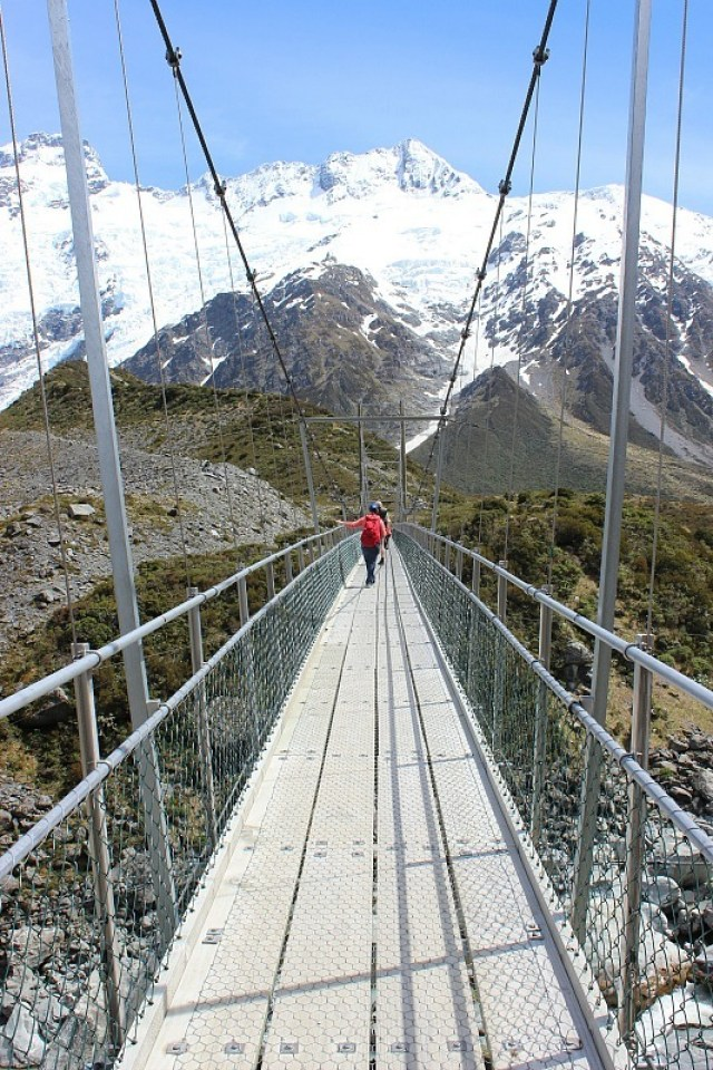 Bridge in Aoraki Mount Cook National Park in the Hooker Valley
