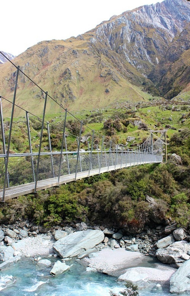 Crossing the Matukituki river on the way to Rob Roy Glacier in Mount Aspiring National Park