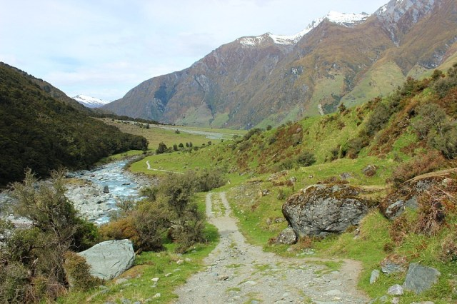The trail back to Raspberry Flats from Rob Roy Glacier in Mount Aspiring National Park