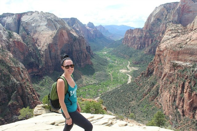Hiking to the top of Angels Landing during month 10 of digital nomad life