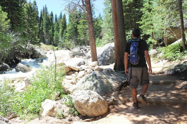 Hiking to Ouzel Falls in Rocky Mountain National Park during month 13 of digital nomad life